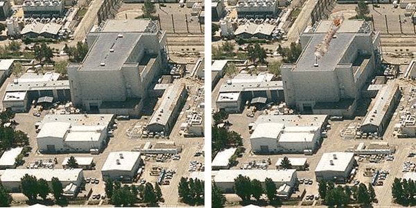 Left: MFTF-B building at LLNL (2009 image). Rt: Same with scaled diagram over the building